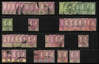 Lot 57 [1 of 3]:Malaya States array on Hagners, mostly broken sets or part-sets with better pickings including Kelantan 1922 Malaya-Borneo Exhibition 4c & 5c SG #30-1, Perak 1895 50c Tiger SG #74, Selangor 50c Tiger SG #59 & 1948 $5 Wedding; some 1950-60s issues to $5 plus a few covers, condition mostly fine. (100s)