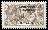Lot 63 [2 of 4]:Morocco Agencies 1924-37 Seahorses mint group with British Currency 1935-37 5/- rose-red SG #74; Spanish Currency 1926 3p on 2/6d BW SG #142; French Currency 1924-32 6f on 5/- rose-red SG #201 & 1935-36 3f on 2/6d SG #225; very fine MLH/MVLH, Cat £90+.