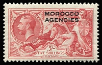 Lot 63 [1 of 4]:Morocco Agencies 1924-37 Seahorses mint group with British Currency 1935-37 5/- rose-red SG #74; Spanish Currency 1926 3p on 2/6d BW SG #142; French Currency 1924-32 6f on 5/- rose-red SG #201 & 1935-36 3f on 2/6d SG #225; very fine MLH/MVLH, Cat £90+.
