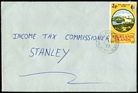 Lot 1486 [1 of 3]:1977 income tax return local covers x3, all franked with different 2p pictorial solo frankings and tied by Port Stanley datestamps. Nice trio. (3)