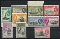 Lot 2161 [3 of 3]:1954 QEII Ships ½d to £1 set SG #G26-40, some marginal examples, fresh MUH, Cat £225. (15)
