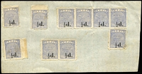 Lot 1489:1892-93 Surcharges ½d on 1d ultramarine SG #72a x10 including strip of 4 and a pair, on uncancelled piece, Cat £600 (unused).