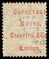 Lot 1496 [2 of 3]:1867-70 Security Underprints 'COPESTAKE,/MOORE,/CRAMPTON & CO.,/LONDON.' in red on 1d red Pl 109 & Pl 114 and on ½d Bantam Pl 11.