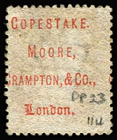 Lot 1496 [3 of 3]:1867-70 Security Underprints 'COPESTAKE,/MOORE,/CRAMPTON & CO.,/LONDON.' in red on 1d red Pl 109 & Pl 114 and on ½d Bantam Pl 11.