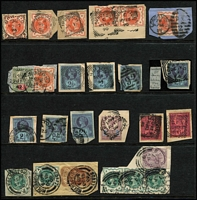 Lot 403 [3 of 3]:1870s-1900s QV Mostly on Piece with 1867-80 9d straw Pl 4 SG #111 x3, 1873-80 8d orange Pl 1 x3, QV Jubilee issues to 1/- x7 on parcel fragments, also squared-circle datestamp, postal stationery cut-outs, etc. (70 items)