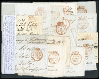 Lot 422:1835-38 Parliamentary Free Mail fronts x16, all with Crown Circle datestamps in red, all signed endorsement by a fellow parliamentarian or government official. Signatures not checked. (16)