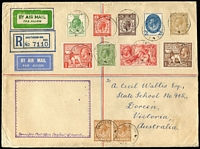 Lot 1564 [1 of 2]:1932 (Sep 17) registered flight cover to Australia flown by Kingsford-Smith with 1915 5/- Seahorse, 1925 Wembley set, PUC low values set plus KGV 5d (pair), 9d green & 1/- all tied by Southend-on-Sea datestamps.