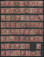 Lot 1567 [2 of 6]:Numeral Postmarks on 1d Red Stars: good variety including London District types, a few annotated with Whitney reference, also a few Scottish & Irish types; some duplication, plenty of fine quality strikes throughout. (280+)
