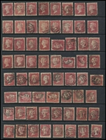 Lot 1567 [3 of 6]:Numeral Postmarks on 1d Red Stars: good variety including London District types, a few annotated with Whitney reference, also a few Scottish & Irish types; some duplication, plenty of fine quality strikes throughout. (280+)