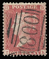 Lot 1567 [1 of 6]:Numeral Postmarks on 1d Red Stars: good variety including London District types, a few annotated with Whitney reference, also a few Scottish & Irish types; some duplication, plenty of fine quality strikes throughout. (280+)