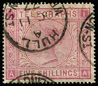 Lot 1563 [1 of 2]:1876-77 5/- rose Pl 1 with fine Hull 'OC11/77' datestamp, 10/- grey-green Pl 1 with boxed cancel and Manchester 'JY17/78' datestamp (slight postmark staining), SG #L231 & L235, Cat £435.