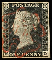 Lot 1503:1840 1d Black Plate 1a [ND] SG #2, couple faint corner bends, complete balanced margins, lightly struck bright-red MC cancel, Cat £375.