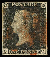 Lot 1567:1840 1d Black Plate 4 [CC] SG #2, slightly cut-into in top-left corner otherwise margins complete, indistinct MC cancel in red, Cat £400.