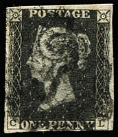 Lot 1564:1840 1d Black Plate 7 [CL] SG #1, very close (at lower-right) to very good margins, indistinct MC cancel in black, Cat £400.