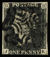 Lot 1568:1840 1d Black Plate 8 [JE] SG #2, complete margins (very close at base), tidy MC cancel in black, Cat £525.