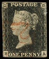 Lot 1498 [3 of 4]:1840 1d Black Selection comprising Pl 1a x2 ['KF' & 'RA'] the former thinned, plus Pl 3 [AD] & Pl 8 [HH] examples, incomplete margins, Cat £1,700+. (4)