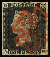 Lot 1499:1840 1d Intense Black Plate 1a [AK] SG #1, complete close to very good margins, lovely bright red MC cancel, Cat £525. Most attractive.