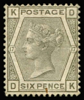 Lot 1235:1873-80 Wmk Spray 6d grey Pl 17 SG #147, small rust mark at base, unused, Cat £950.
