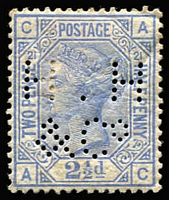 Lot 1399:1880-83 Wmk Imperial Crown 2½d blue Pl 21 [AC] SG #157, 'HH&Co' private perfin, paper hinge remain. Cat £500.