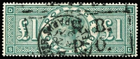 Lot 1607:1887-92 Jubilee £1 green SG #212, very good used, Telegraphs cancel. Cat £800.