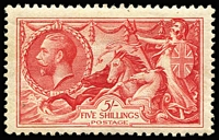 Lot 1420 [2 of 3]:1934 Re-Engraved Seahorses 2/6d to 10/- set SG #450-52, fine MLH. Cat £575. (3)
