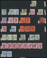 Lot 432 [1 of 3]:Hong Kong Treaty Ports Cancellations with representations from Amoy including 5c blue SG # Z29 (Cat £95), Canton, Chefoo, Foochow, Hankow, Swatow, Tientsin, Shanghai including $1 on 96c #Z812 (Cat £45) plus a PPC (used in 1907 to England) and Wei Hai Wei; also BPOs in Japan (Yokohama) SG #Z41 (Cat £65), generally fine. (100+)