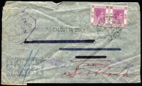 Lot 1571 [1 of 2]:1945 (Nov 3) censored airmail cover to N.B. (New Brunswick) endorsed 'BY AIR TO CALCUTTA ONLY' with 50c purple pair tied by Victoria '3NO/45 datestamp, Montreal 'DEC/16' transit backstamp, re-directed to Scotland with 'FORWARD/FAIRE SUIVRE' handstamps in violet, address-lines scored through, edge blemishes.