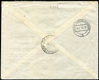 Lot 1578 [2 of 2]:1938 (Jul 4) D. Fain (Kaunas) printed cover to Henry B Smith (Melbourne) sent at 3L40c airmail rate (UPU 60c, plus airmail surcharge 2L80 per 10gms), with Berlin & Darwin transit backstamps.