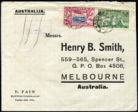 Lot 1578 [1 of 2]:1938 (Jul 4) D. Fain (Kaunas) printed cover to Henry B Smith (Melbourne) sent at 3L40c airmail rate (UPU 60c, plus airmail surcharge 2L80 per 10gms), with Berlin & Darwin transit backstamps.
