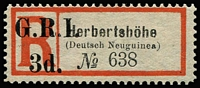 Lot 697:1915 Registration Labels Surcharged 'G.R.I./3d.' on Herbertshohe (Deutsch Neuguinea) sans-serif registration label SG #36. Fresh unused.