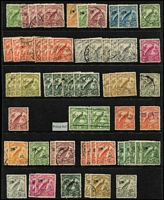 Lot 1416 [2 of 4]:1925-39 Collection 1925-27 Huts with 6d bistre & 6d yellow-brown x3 & 1/-, 1931-34 Birds including Undated £1 & optd 'OS' 3d, 4d & 5d, 1932-34 Bulolo to 6d & 1/-, 1937 Coronation 5d Re-entry in corner block of 4 (MUH); some heavy duplication of low values; also few NWPI including KGV 1d violet perf 'OS'; possible postmark interest, condition variable. (180+)