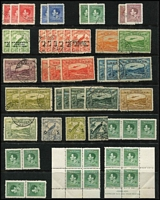 Lot 1416 [3 of 4]:1925-39 Collection 1925-27 Huts with 6d bistre & 6d yellow-brown x3 & 1/-, 1931-34 Birds including Undated £1 & optd 'OS' 3d, 4d & 5d, 1932-34 Bulolo to 6d & 1/-, 1937 Coronation 5d Re-entry in corner block of 4 (MUH); some heavy duplication of low values; also few NWPI including KGV 1d violet perf 'OS'; possible postmark interest, condition variable. (180+)