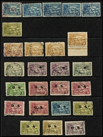 Lot 1418 [3 of 4]:1925-39 Used Array with Huts to 6d x4 & 1/-, Huts Airs 9d x2 & 1/-, optd 'OS' 6d & 9d, Dated Birds including Airs 2/- (on piece) & 10/- VFU and optd 'OS' 1/- & 2/-, Undated Birds with Airs 2½d x2, 9d x2 & 5/-, optd 'OS' to 9d (ex 1½d) plus 2/-, Bulolo Airs to 6d; some postmark interest; duplication throughout, condition variable but mostly fine. (180+)