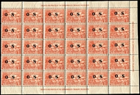 Lot 1069:1925-31 Huts Optd 'OS': 1½d orange-vermilion SG # sheet of 30 with sheet margins with inscriptions complete on 3 sides, fresh MUH, Cat £165++.