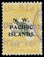 Lot 1417:Woodlark Island: large-part Powell Type #128b 'RADIO STATION/WOODLARK ISLAND' Radio Station cancel in violet on 5/- Roo SG #116 (some short perfs), Cat £70. Rated F.