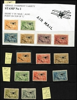 Lot 1419 [2 of 2]:1925 Native Huts Airs ½d, 1d, 3d, 6d, 9d & 2/- each with overprint variety Short 'I' of 'MAIL' each stamp partly adhered to fragment from exhibit page, plus selection of other overprint varieties on values to 1/-. (15)