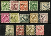Lot 1063 [2 of 2]:1932-34 Undated Birds 1d to £1 set SG #177-89, 3d (tiny thin), 5d (mild crease), 5/- tiny wrinkle. Cat £300. (16)