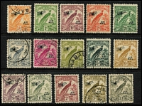 Lot 1066 [2 of 2]:1932-34 Undated Birds Airs ½d to £1 set SG #190-203, fine used (1d, 1½d & 6d are unused). Cat £250. (16)