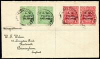 Lot 1424:1918 (Feb 16) Wilson cover with KGV ½d green & 1d red SG #65 & 67 pairs tied by 'KOKOPO/16FE18/███████'' datestamp (base deteriorating and 'QUEENSLAND' becoming apparent).