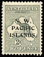 Lot 1390:1915-16 Kangaroos 3rd Wmk 2d grey SG #94 Extra islands around Tasmania [2R43], well centred mint. Cat $120 (as an unoverprinted stamp).