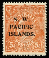 Lot 907:1918-23 KGV Single Wmk 5d brown, SG #105 variety Notched left frame above lower corner [1L57] BW #123r, well centred, small hinge remainders, mint, Cat $150 (as unoverprinted stamp).
