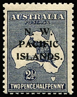 Lot 1412 [2 of 2]:1918-23 Kangaroos 3rd Wmk 2½d SG #107 variety Retouch to first 'A' of 'AUSTRALIA' (and heavy coastline to WA) [2L43] BW #11(2)l, Cat $200 (as an unoverprinted stamp); also another 2½d with Colour flaw on value circle at lower-left, even gum tone; both stamps mint with hinge remnants. (2)