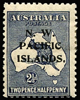 Lot 1412 [1 of 2]:1918-23 Kangaroos 3rd Wmk 2½d SG #107 variety Retouch to first 'A' of 'AUSTRALIA' (and heavy coastline to WA) [2L43] BW #11(2)l, Cat $200 (as an unoverprinted stamp); also another 2½d with Colour flaw on value circle at lower-left, even gum tone; both stamps mint with hinge remnants. (2)
