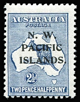 Lot 1413:1918-23 Kangaroos 3rd Wmk SG #107b variety Very heavy coastline to WA [2L55] BW #11(2)da, fine MLH, Cat $250 (as an unoverprinted stamp).