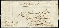 "Lot 1068 [1 of 2]:1848 (Nov 30) outer from Yass to Melbourne endorsed ""on H M Service"" and ""With a Small/Parcel"" & on reverse ""via/Berrima"", 'YASS/(crown)/NO*30/1848/NEW.S.WALES' oval departure backstamp, part-strike of Melbourne, Port Phillip arrival backstamp, opening fault. Very scarce early OHMS cover."