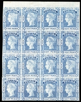 Lot 998 [2 of 2]:1852 Imperf Laureates unauthorised Van Dyke 6d brown complete sheet of 25, plus 8d blue block of 16, few minor blemishes. (2 items)