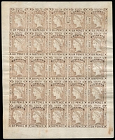 Lot 998 [1 of 2]:1852 Imperf Laureates unauthorised Van Dyke 6d brown complete sheet of 25, plus 8d blue block of 16, few minor blemishes. (2 items)