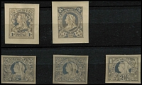 Lot 633 [2 of 2]:1897-99 Jubilee Wmk 2nd Crown/NSW stamp-size photographic essays of unadopted Tannenberg designs for 'Jubilee' issue comprising vertical format 1d (crease), 2d x2 and horizontal format 2d & 2½d x2, minor blemishes. (6)