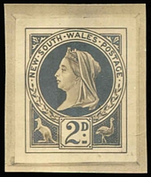 Lot 633 [1 of 2]:1897-99 Jubilee Wmk 2nd Crown/NSW stamp-size photographic essays of unadopted Tannenberg designs for 'Jubilee' issue comprising vertical format 1d (crease), 2d x2 and horizontal format 2d & 2½d x2, minor blemishes. (6)