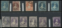 Lot 1583 [3 of 3]:1862-73 Perforated Chalons Selection comprising 1862-64 Large Star P13 2d blue SG #72, 1864 Wmk 'NZ' 6d red-brown SG #108, 1864-71 Large Star P12½ 1d orange, 2d deep blue, 2d blue, 3d lilac x5, 3d deep mauve, 4d deep rose (Cat £250), 6d red-brown x2, 1/- yellow-green x2 (one thinned), 1871-72 1d brown (worn plate) x2, 2d orange x3, 2d vermilion & 6d pale blue; no major faults sighted, generally good to fine used, Cat £1,200 approx. (23)